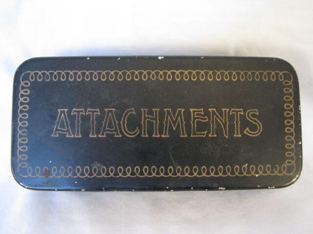 Antique Greist Sewing Machine Attachments with  Original Metal Case 14 pieces