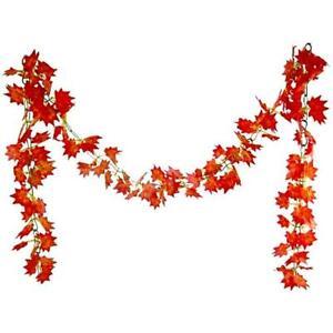Artificial Chainlink Maple Leaf Garland 8ft  - Choose Qty - Autumn Winter Decor
