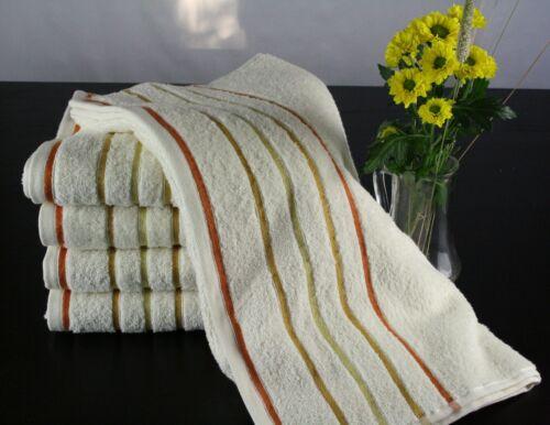 500 g//m²m 100 /% Baumwolle 5 wollweiße Handtücher goldfarbene Bordürenstreifen