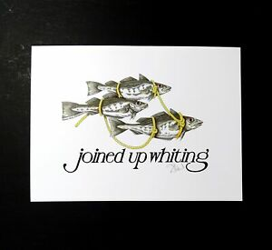 Joined-Up-Whiting-Signed-Simon-Drew-Fish-Print-Entertaining-Art-Large-Quirky