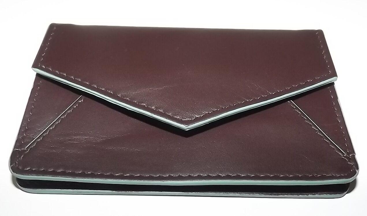 Neuf Italia Leather Gussetted Carte de Crédit Ou Visite Étui Marron / Turquoise