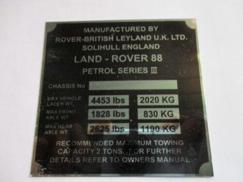 Typenschild Schild LandRover Plate 88 serie 3 III Benzin S43 Land rover