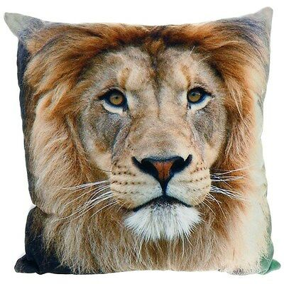 33CM ANIMAL CUSHION 100% COTTON SOFT COVER WILD DOG TIGER LION CAT PET NEW SOFA