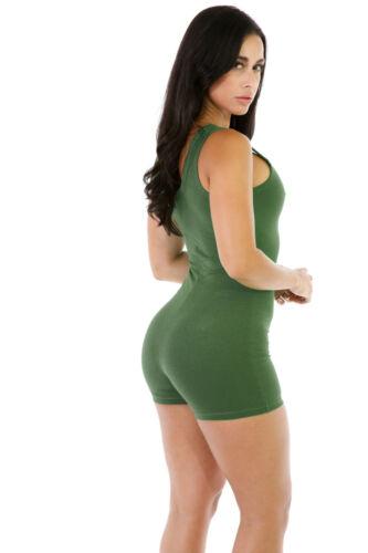 Womens Sleeveless Shorts Romper Jumpsuit Bodysuit Stretch Leotard Yoga Sportwear