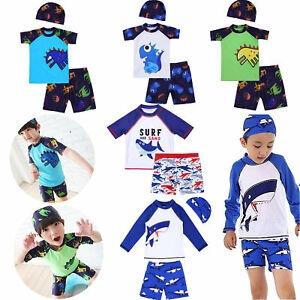 b611862966 Kids Boys Swimsuit Rash Guard Top with Swim Shorts Trunks Swimwear ...