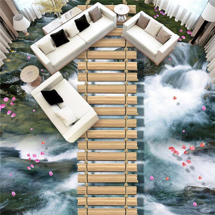 Ruta de madera madera madera Cascada popular 3D floor Pisos De Foto Mural Papel Pintado Pared Calcomanía dfd009