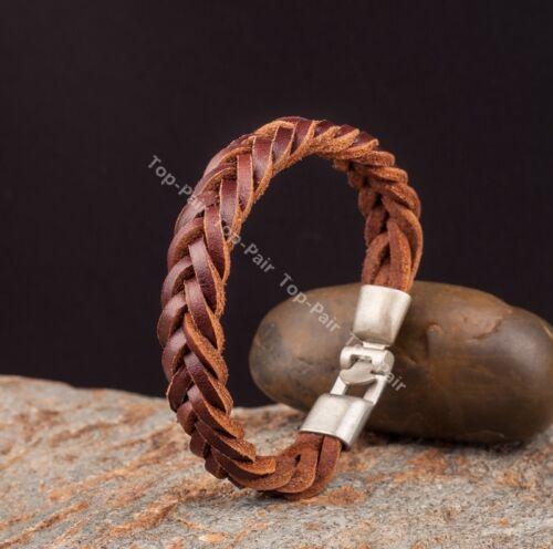 S509 Vintage Clásico encanto genuino cuero trenzado pulsera pulsera para hombre en el puño