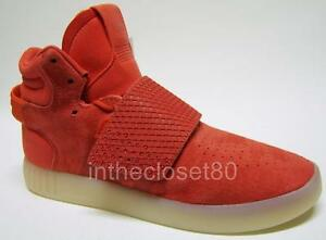 12a823020e9cd4 Image is loading Adidas-Tubular-Invader-Strap-Red-Suede-Juniors-Womens-