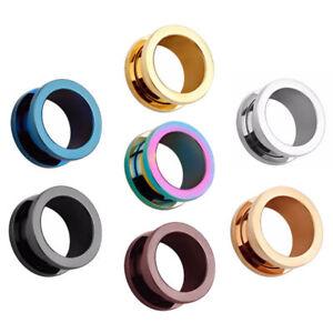 Pair-Flat-Flared-Stainless-Steel-Ear-Tunnels-Screw-Fit-Plugs-Gauges-Earrings
