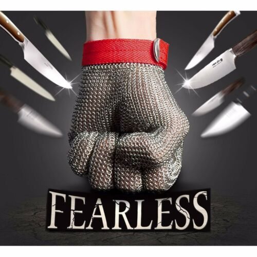 2Pcs Grade 5 Safety Cut Proof Stab Resistant Stainless Steel Metal Mesh Glove