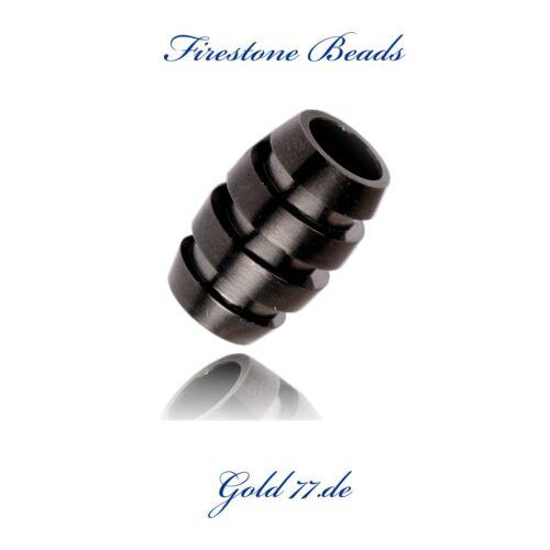 Beads Perlen Bart Perle Edelstahl Black mattschwarz 7mm CNC Firestone Beads Nr28