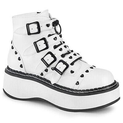 "Demonia Black Hologram Buckle 2/"" Platform Goth Heart Stud Shoes Boots Punk 6-12"