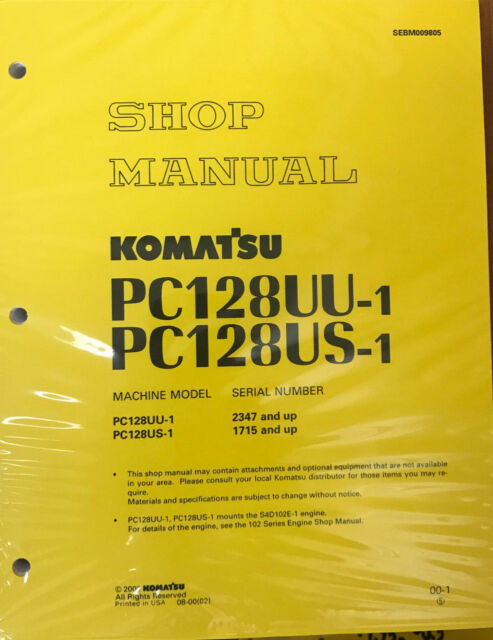 komatsu service pc128us 1 pc128uu 1 shop manual book ebay rh ebay com HP Owner Manuals Customer Service Books