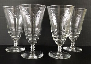 Vintage-Libb-Rock-Sharpe-Cut-Crystal-Normandy-Iced-Tea-Goblets-6-3-8-Set-Of-4