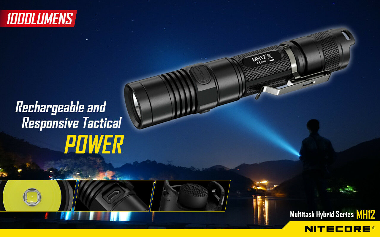 New NITECORE MH12 Cree LED 1000 Lumen USB Rechargeable Flashlight with holster