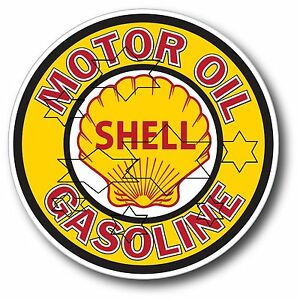 VINTAGE SHELL GAS PUMP DECAL STICKER LABEL 9 INCH DIA 230 MM HOT ROD FRIDGE BAR