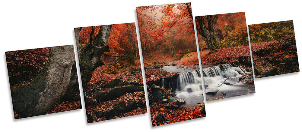 rot Landscape Woodland Picture CANVAS WALL ART ART ART Five Panel 09b2cd