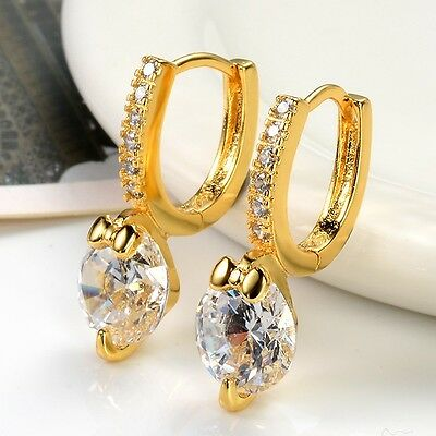 Luxury 24k Yellow Gold Filled Charm Earrings Wedding Hoops Jewelry Gift