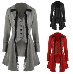 Medieval Women Steampunk Victorian Gothic Coat Jacket Lace Trim Tailcoat Costume
