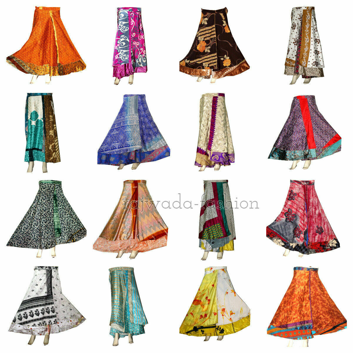 10 PC Grossist Lot Indian Silk kjol kvinnor Wrap around Rapron Silk Long kjol