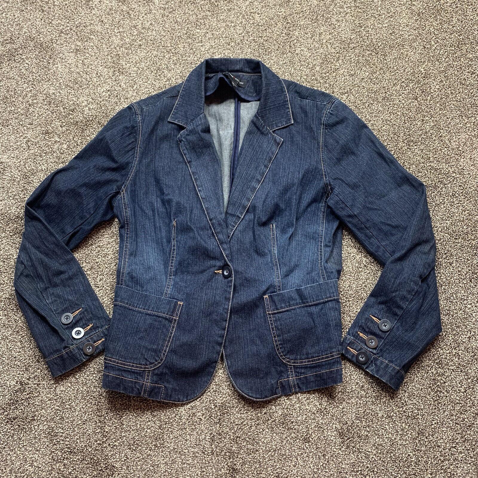 new york & company womens size 12 blue denim blazer jacket