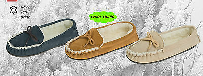 Lodgemok Mens traditional real suede moccasin Slippers  Indoor Shoes  FREE POST