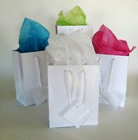 Wholesale Lot 100 Small Glossy White Gift Bags Wedding Party Favors