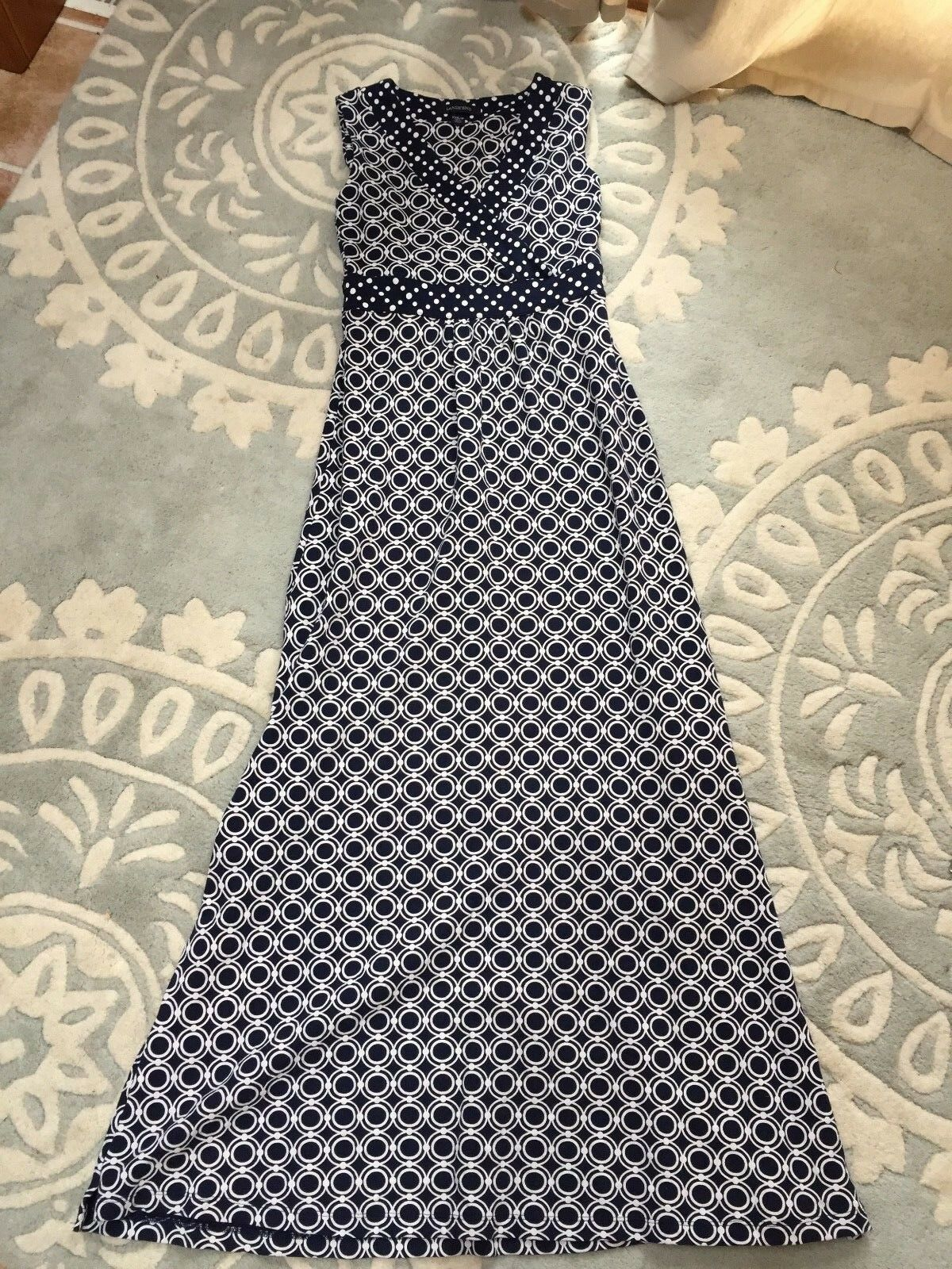Lands' End Mod Navy bluee White Circle Print Maxi Dress Surplice Bodice XXS 2XS