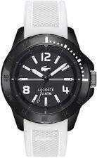 Lacoste Mens Fidji Black Dial White Silicone Rubber Strap Watch 2010713