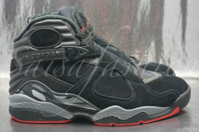 7a349cf71ab0e2 Nike Air Jordan 8 Retro Black Gym Red Wolf Grey 305381 022 Mens Size 10