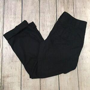 LONDON-JEAN-Womens-Size-4-Black-Capri-Cargo-Cotton-Cuffed-Pant