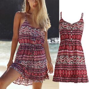Womens-Red-Floral-Bohemian-Tight-Sleeveless-Summer-Beach-Short-Dress-Knee-Length