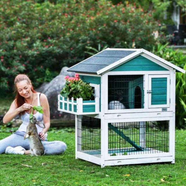 Pawhut 2 Tier Double Decker Wooden Rabbit Hutch Pet Cage Run Guinea Pig With Sli For Sale Online Ebay