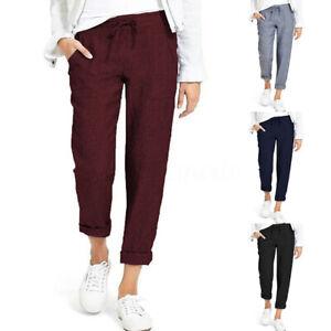 Mode-Femme-Pantalon-Poches-Taille-elastique-Loisier-Simple-Loose-Longue-Plus