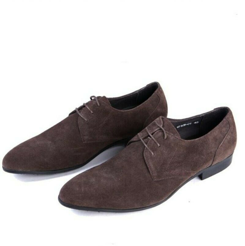 Mens Real Suede Leather Pointy Toe Lace Up Loafers shoes Low Top moccasin shoes