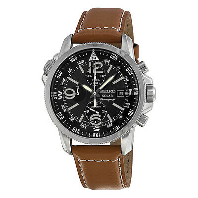 Seiko Solar Chronograph Compass Black Dial Mens Watch SSC081