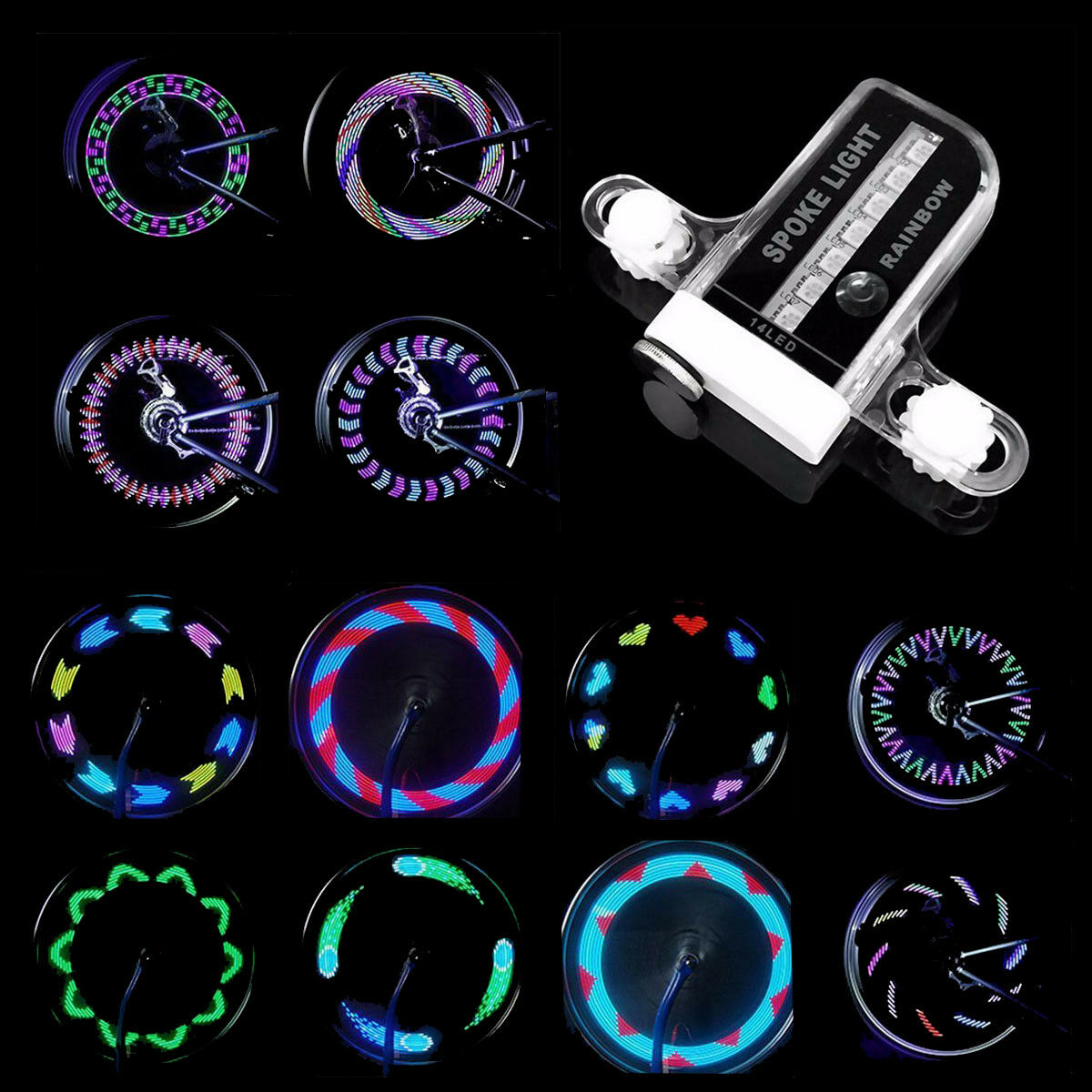Bike LED Spoke  Lights - 14 LED Waterproof Night Cycling Safety Accessory  select from the newest brands like