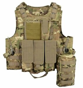 MTP-Molle-Tactical-Vest-Multicam-Plate-carrier-Chest-webbing-Pouch-Airsoft-Wire
