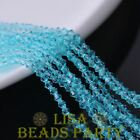 200pcs 3mm Bicone Faceted Crystal Glass Loose Spacer Beads Light Lake Blue