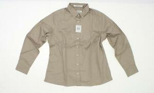 nWT-Forsyth-Women-039-s-Long-Sleeve-Button-Front-Twill-Shirt-Blouse-Khaki-Large