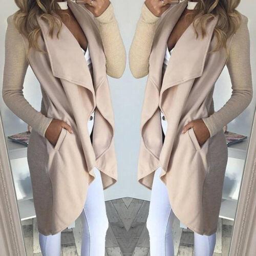 Women/'s Long Cardigan Coat Jacket Trench Windbreaker Outwear Asymmetrical Spring