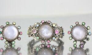 Vintage-Signed-SELRO-Silver-Filigree-Glass-Clamper-Cuff-Bracelet-Earrings-Set