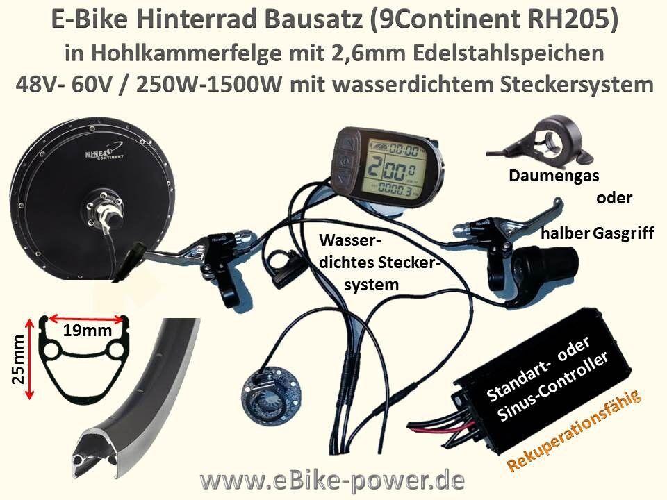 E-Bike Hinterrad Umbausatz 500W bis bis bis 1500W Bausatz S-Pedelec 45km/h 3bf6bf