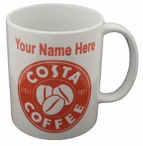 Details About Personalised Costa Coffee Theme Mug Any Name Customised Novelty Gift Set