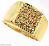 Mens Modern Shape 16cz 18kt Gp Fashion Ring Size 12
