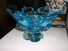 Stunning Electric blue Murano open flower padded pedestal bowl c1950s Seguso