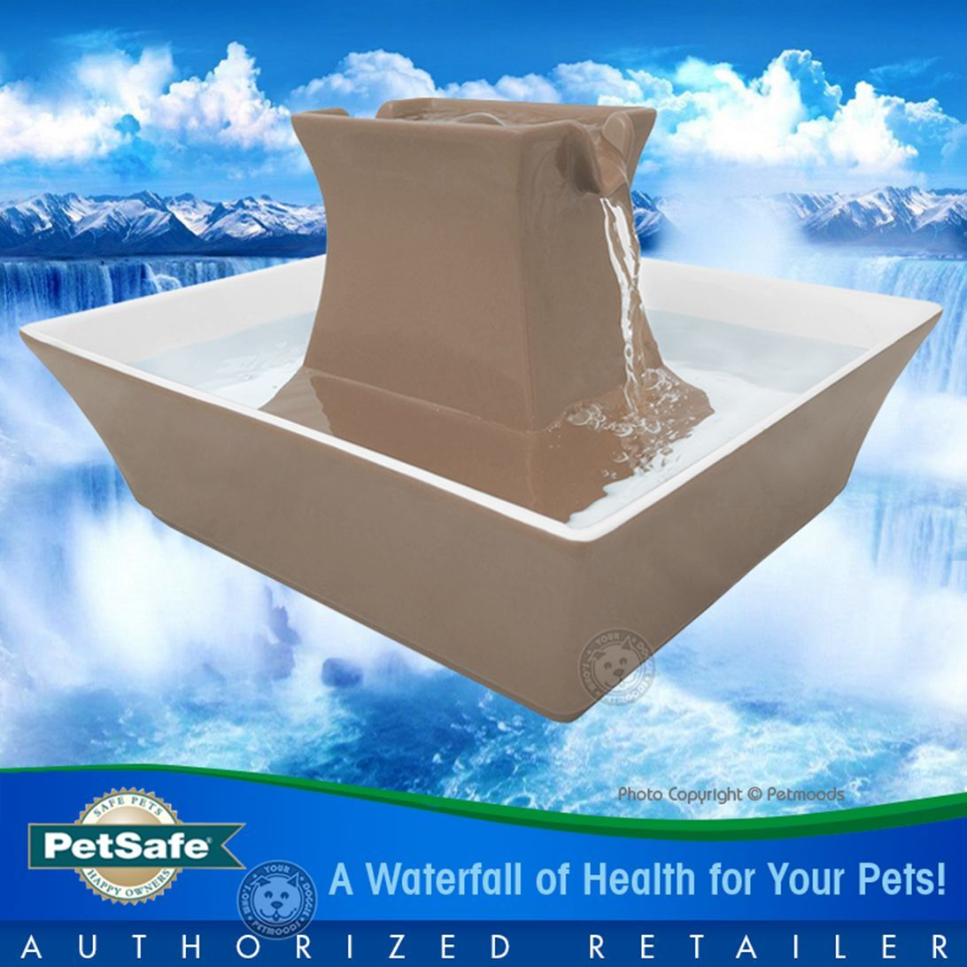 PetSafe Drinkwell Ceramic Pagoda Dog Cat Taupe Fountain 70 oz PWW00-14440