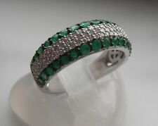 14K WHITE GOLD EMERALD AND DIAMOND RING/BAND