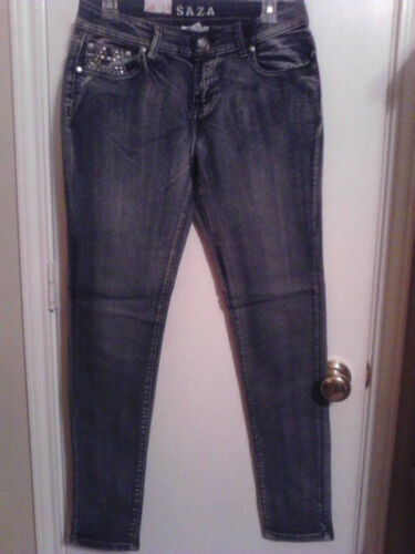 New Saza Rhinestone Jean Blue Junior Sizes 0-15 Don/'t Miss 3/% Spandex//Comfort