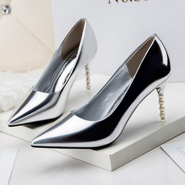 Decolte 10 cm gioiello lucido stiletto eleganti plata plata plata simil pelle 9668  Todo en alta calidad y bajo precio.